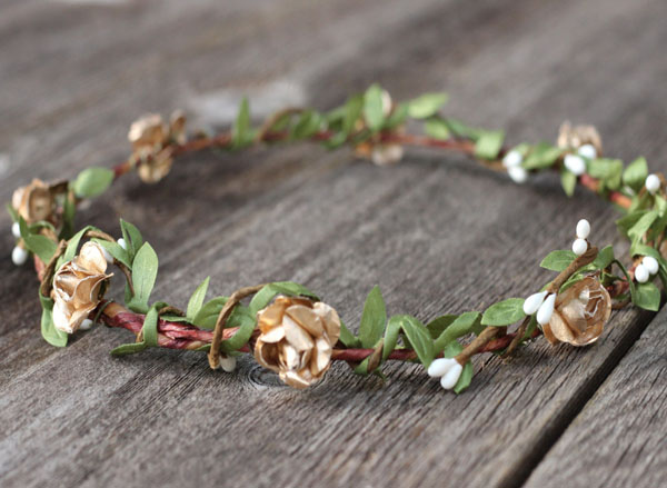 Gold Floral Crown Halo Natural Leaf Crown Rustic Wedding Headpiece